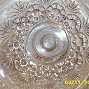 Clear Pressed Glass Footed Compote Fruit Bowl Art Deco Floral