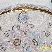Vintage DELILL Pastel Floral Hand-Beaded Evening Bag..FRANCE..Excellent Condition