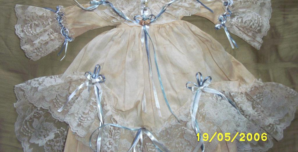Vintage..Victorian Style Muslin Dress With Lace Trim & Rosettes For Bisque Doll