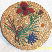 Vintage Round Natural Straw Embroidered Doll's Hat With Attached Wig & Geometric Metal Earrings & Hat Pin