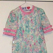 Vintage Shift Matti Of Lynne By Pina LoVoi Pastel Water-Color Floral Print..Cotton SIZE 8