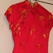 Chinese..SUZY WONG.. Silk Satin Long Fitted Dress With Gold Brocade Chinese Birds..Hand Finish