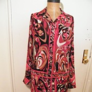 1960's ..EMILIO PUCCI..2 Piece Dress..Silk Blouse..Wool Skirt..Red / Wine / Rust / Brown ...