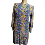 Aurora Ruffolo Eastern Paisley Tile Print Silk Crepe Drop Waist Dress With Pleat Accent...Exce