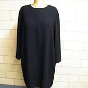 ELLEN TRACY...Black Crepe Shift Style Dress ..Jewel Neck With Rhinestone Trim..Long Sleeves..S