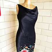 Black Satin Embroidered Gypsy Dress With Fringe..ABS..Size 8..Excellent Condition