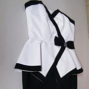 Black / White Pique Peplum Dress By AJ BARI..Size 8 Petite..Excellent Condition