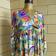 """SALE 1960's Emilio Pucci style Abstract Print Dress ..""""V"""" Neck..Empire Waist..Long F"""