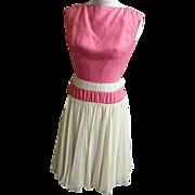 ESTEVEZ Formal Dress 1950's..Pastel Beige Silk Crepe Chiffon With Rose Silk Bodice..Size 10..E