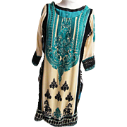Silk Embroidered Ethnic Tunic Dress ..Black Crochet Accents..Printed Back..A Jewel Of A Dress!