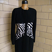 Black Crepe Fitted Dress With Satin Zebra Ruching ..Button Front..By CHETTA B For Miss Bergdor