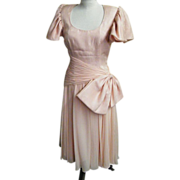 1960's Pale Pink Silk Chiffon Cocktail / Formal Dress By Morton Myles For The Warrens..1960's.