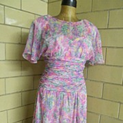 Water Color Printed Chiffon Garden Party Dress By Anthony Norman LTD