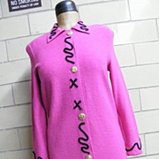 Steve Fabricant Hot Pink Boucle Knit Dress With Black Passementerie Swirl Trim..Excellent Condition!