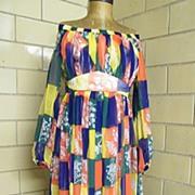 1960's Elegant Summer / Cruise Long Chiffon Block Printed Dress ..Off The Shoulder..Empire Wai