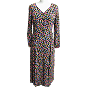 Maxi Dress..Betsey Johnson..Small Liberty Style Floral On Black Ground..Rayon Crepe..Size ...