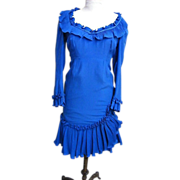 Blue Silk Sheath Accordion Pleated Trim..Chock Full O'Nuts Paige Morton Black By Rosann