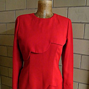 VALENTINE RED Scalloped Dress..Polyester Crepe..Katherine Conover..Korea..Size 8..Excellent Co