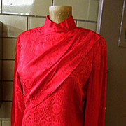 Red Silk Damask Sheath..Draped Bodice..1970'2-80's..Size 14..Excellent Condition!