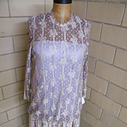 Rita diMontella..Designer Lace & Beaded Formal / Evening Dress..Beige With Mauve Lining..Size 10