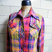 Long Cotton Madras Plaid Dress..Button Front..Long Sleeves..Pucker Stripe..Red/Violet/Yellow..