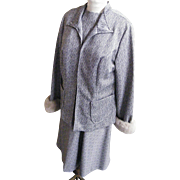 Women's Size Dress / Suit With American Lamb Trim Cuffs..Grey / White Geometric Double Knit..L