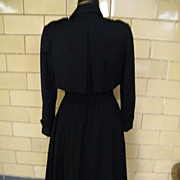 SALE PENDING 1940's Style..Albert Nipon Navy Wool Trench Coat Dress..Long Sleeves..Excellent C