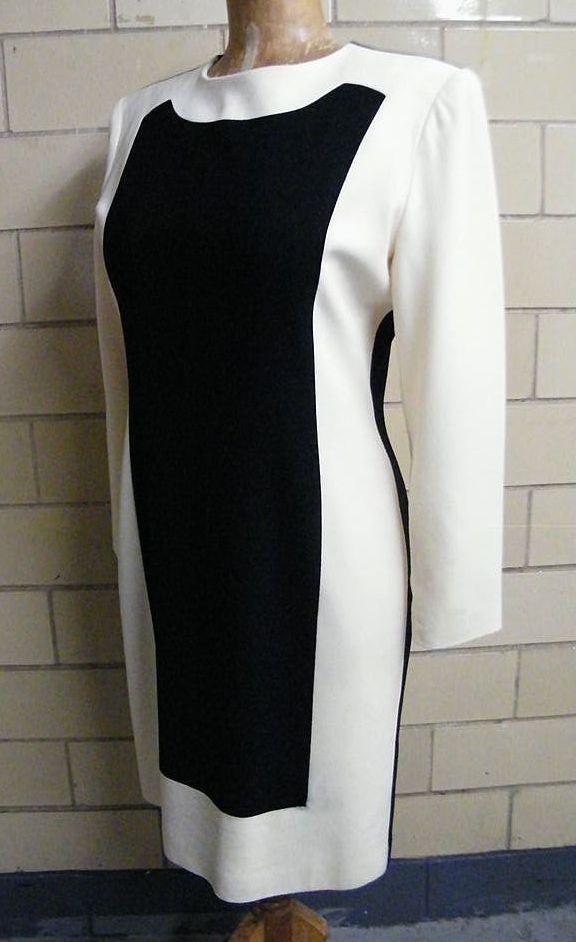 Tuxedo Black/White Color Block Dress..Long Sleeves..Bill Blass..Size 12