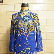 1960's..Long Blue Ground Bright Floral Modern Print..Poly Doubleknit..Belt Or Not..Excellent C