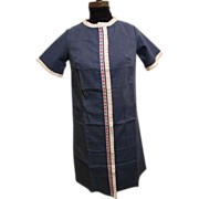 1950's..Duster..Housecoat..Loungewear..Denim Blue Polyester/Cotton Embroidered Floral  & White