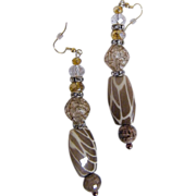 "Camouflage Porcelain & Novelty Glass Beaded Drop / Dangle Earrings...3.25"" Drop"