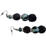 Artisan Dangle / Drop Earrings..Black Jet, Aqua & Black Animal Spots, & Black Sequin Ball..2.7