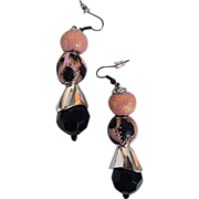 "Pale Pink & Coral / Black Animal Spots With Jet....Drop / Dangle Earrings...2.5"" Drop"
