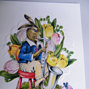 Bunny Collage Easter Card...Playing Tuba..With Tulips, Egg, & Chick..Never Used