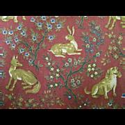 Hunters Ridge...Hunted Animals Cotton  Print On Dark Brick Red Ground..Medium Weight Oxford We