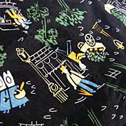 Vintage 1950's Paris Print Cotton Fabric On Black Ground..Interesting