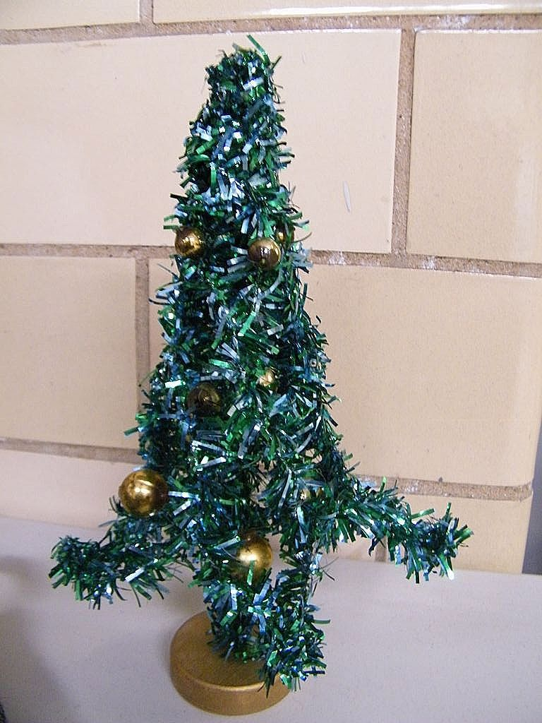 """Mid-Century Green Foil Christmas Tree ..8"""".Decorated With Gold Glass Balls..Japan"""