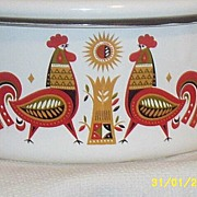 Vintage..Medium Sized Enamelware Covered Stock Pot Casserole..Roosters..Signed