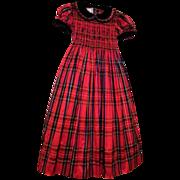 BEST & CO. Red Tartan Plaid Silk Taffeta Polly Flinders Smocked Child's Dress With Velvet Trim
