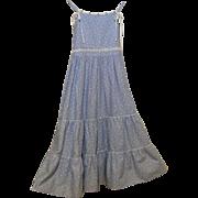 Girl's Sundress Size 10..Blue Cotton Linen Printed..Scattered Little White Hearts On Blue Grou