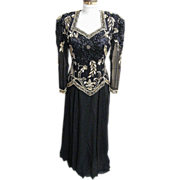 Black Silk Crepe Chiffon Long Gown With Gold Hand Beading..LongSleeves..Bra..Excellent Conditi