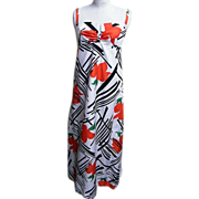 Carrie Couture By Felix Arbeo..Opp Art Floral Print Gown With Matching Shawl..Red/Black/Green On White Ground..1960's-70's..