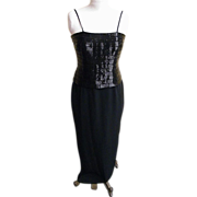 Stylized Tuxedo Gown / Jacket..Black..Buggle Beads..Crepe..Daymor Couture..Size 6..Excellent C