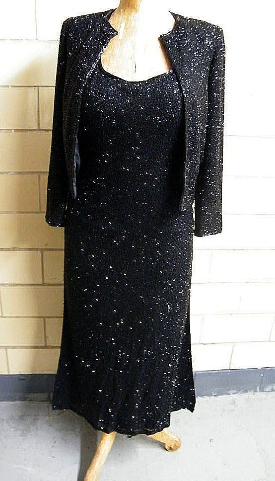 LILLIE RUBIN..Black Bugle Beaded On Silk  Halter Gown & Jacket..Extra Small..Excellent Condition!