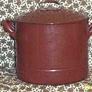 Antique European German Graniteware Stock Pot & Steamer Set...Lt Gray Swirl & Brown