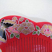 Japanese Hair Ornaments / Combs..Hand Painted & Carved Lucite..Butterfly & Flowers..1970's - 8