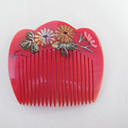 Japanese Hair Ornament..Side Comb..Hand Painted..Red..Lucite..3 Designs..NOS..1970's-80's..3 A