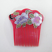 Japanese Hair Ornament..Long Combs..Hand Painted & Carved Lucite..Floral..Silver Paint..NOS..1