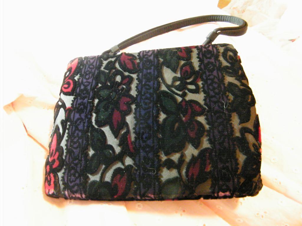 Vintage..MEYERS..Cut Velvet Evening Purse..Wallpaper Floral..Very Dark Colors..NEW CONDITION