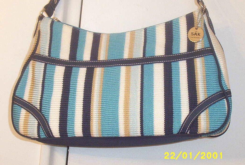 Designer... THE SAK...Shoulder Handbag..Crocheted Turquoise Owning Stripe...NEW CONDITION